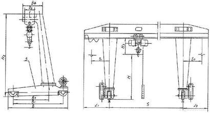 L型半门式起重机结构简图